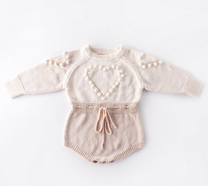 Knitted Heart Wool Romper