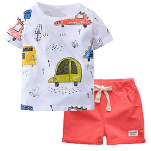 Toddler Boy Cartoon Car Tee and Short Set