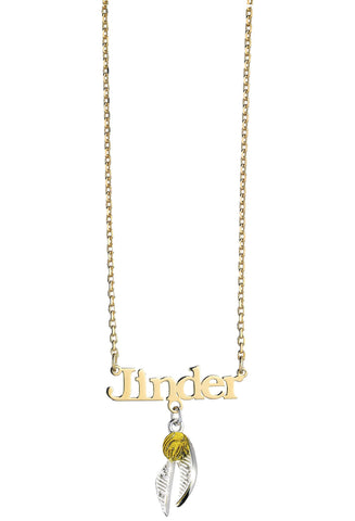 gold plated personalised golden snitch necklace