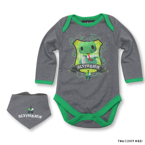 Slytherin™ Mascot Babygrow and Bib front