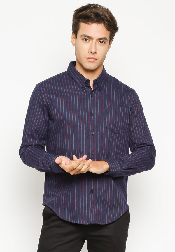 AIDEN LONG SLEEVES CUSTOM FIT SHIRT NAVY