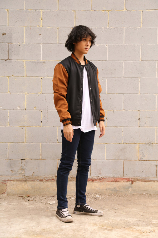 FAME VARSITY JACKET BROWN