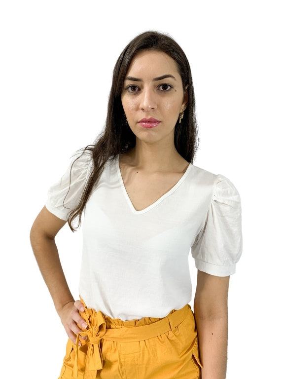 BLUSA LISA DEC. V MANGA PRINCESA
