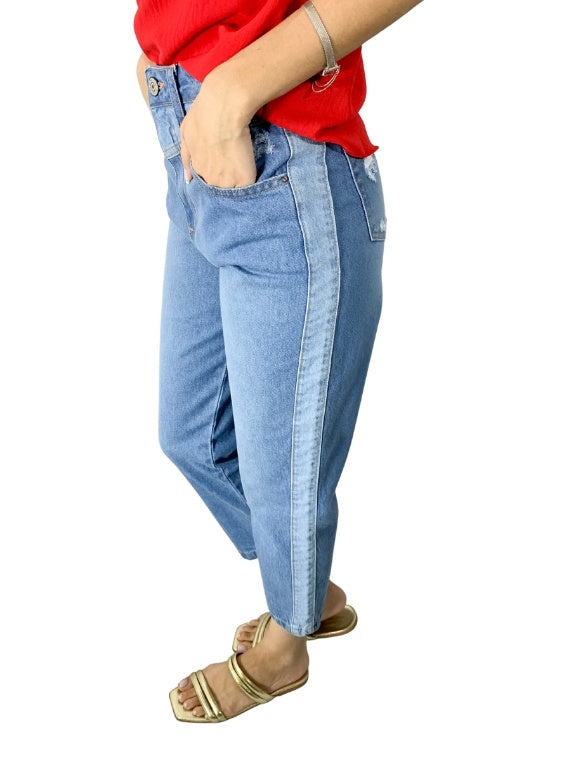 CALÇA JEANS MOM DET LATERAL