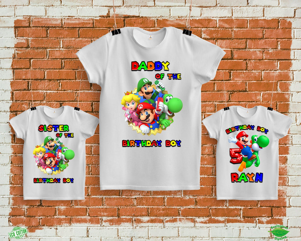 Super Mario Birthday Shirts