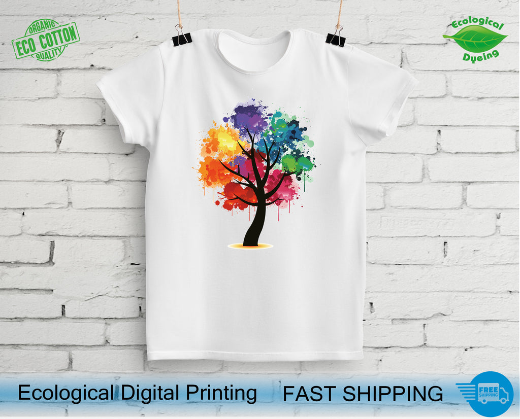 Colorful Watercolor Tree T-Shirts