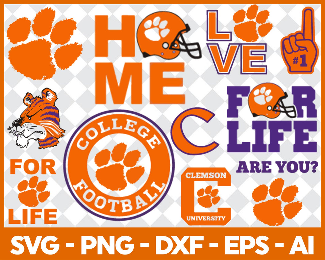 Clemson Tigers Football svg,sport svg, football svg, silhouette svg, cut files, College Football svg, ncaa logo svg, - EaseDesignStudio