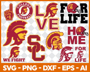 USC trojans Football svg, football svg, silhouette svg, cut files, College Football svg, ncaa logo svg - EaseDesignStudio