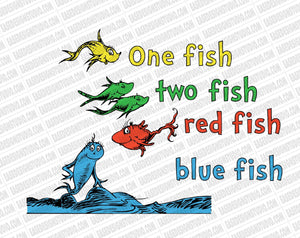 One fish two fish, blue fish red fish, Dr seuss svg, Dr seuss Birthday, Dr seuss quote,silhouette svg, cricut svg files digital. - EaseDesignStudio