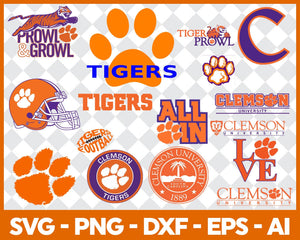 Clemson Tigers, Clemson Tigers svg, Clemson Tigers clipart, Clemson Tigers cricut, football svg, NCAA Sports svg, png dxf eps, - EaseDesignStudio