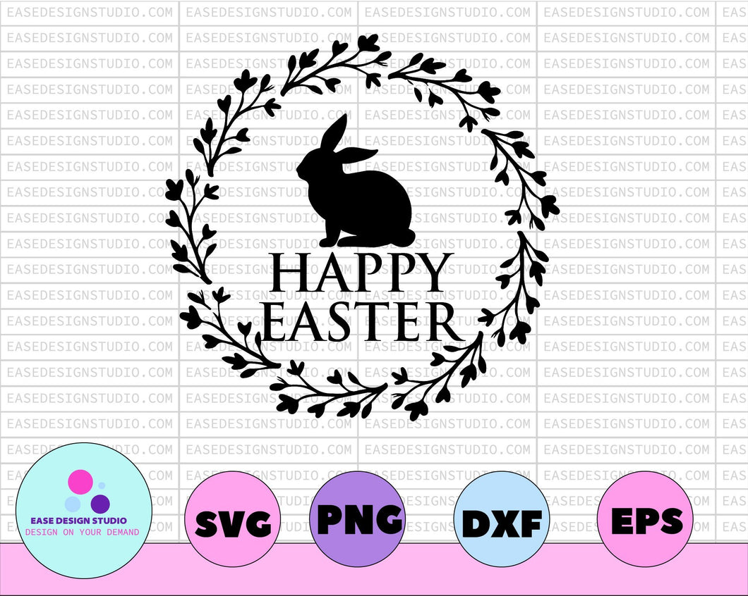 Happy Easter SVG, Easter Cut File for Cricut, Silhouette, Cameo Scan n Cut, Easter Bunny Ears Svg, Bunny Feet, Dxf, Easter Kids Shirt Svg - EaseDesignStudio