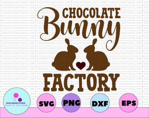 Chocolate Bunny Factory Easter Svg Easter Bunny Svg Bunny Head Svg Bunny Shirt Svg Spring Svg Easter Sign Svg Cricut Svg Easter Cut File,DXF,PNG - EaseDesignStudio