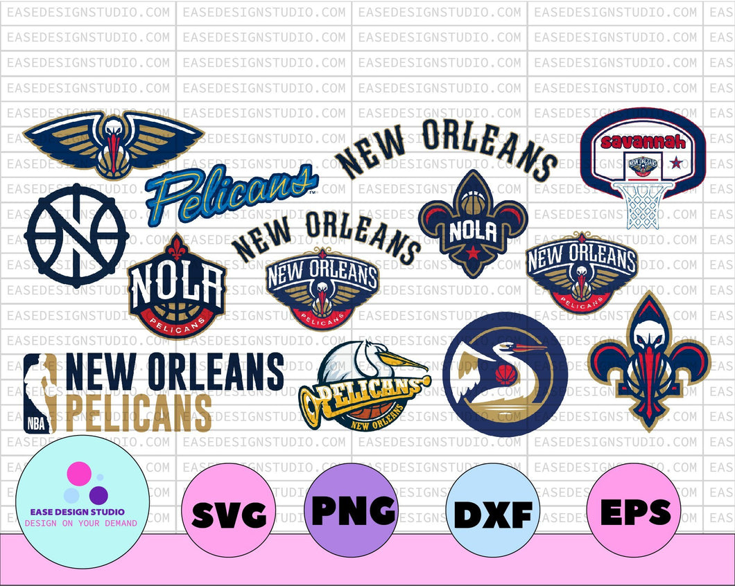 NBA New orleans pelicans svg, New Orleans Bundle svg, basketball svg,svg,png,dxf,eps - EaseDesignStudio