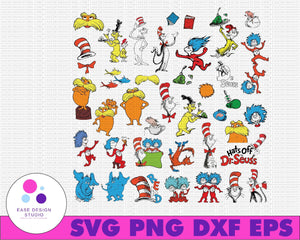 Dr Seuss svg bundle, Cat in hat svg, lorax svg, thing one two svg, seuss sayings svg,sam i am, green eggs and ham svg, dxf, clipart, vector - EaseDesignStudio