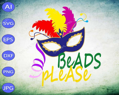 Mardi Gras SVG - Beads please svg, png, dxf, eps digital download - EaseDesignStudio
