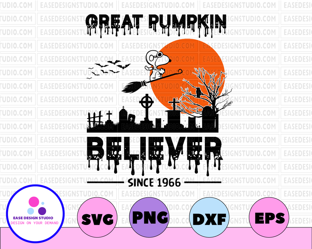 Great pumpkin believer since 1966 halloween svg, dxf,eps,png, Digital Download