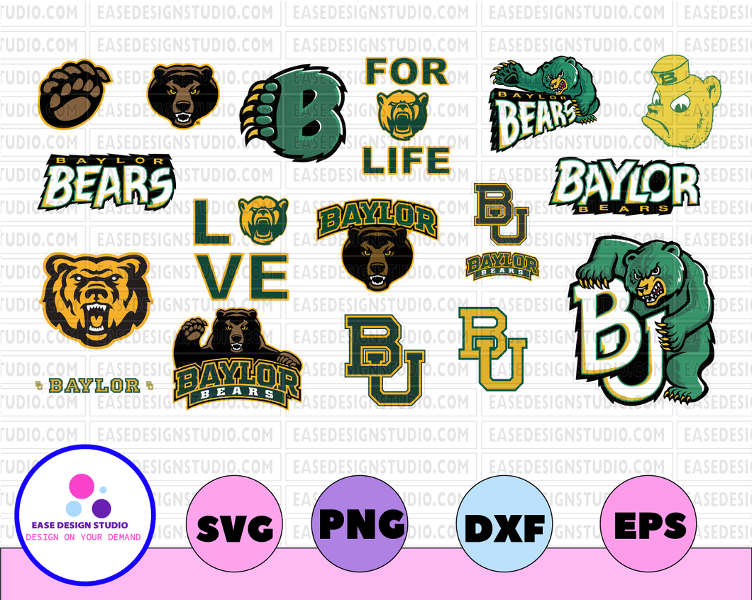 Baylor Bears, Baylor University NEW Custom Designs. SVG Files, Cricut, Silhouette Studio, Digital Cut Files,  Cricut, football svg, NCAA Sports svg, png dxf eps