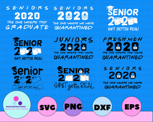 9 files Seniors 2020 Getting Real Funny Toilet Paper Graduation Day Class of 2020 Design Silhouette SVG PNG Cutting File Digital Download - EaseDesignStudio