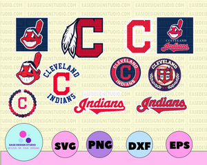 Cleveland Indians Cut Files, SVG Files, Baseball Clipart, Cricut Cleveland Indians, Cutting Files, Baseball DXF, Clipart, Instant Download - EaseDesignStudio