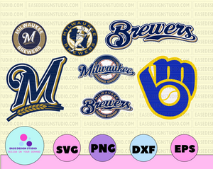 Milwaukee Brewers Cut Files, SVG Files, Baseball Clipart, Cricut Milwaukee Brewers Cutting Files, Baseball DXF, Clipart, Instant Download - EaseDesignStudio