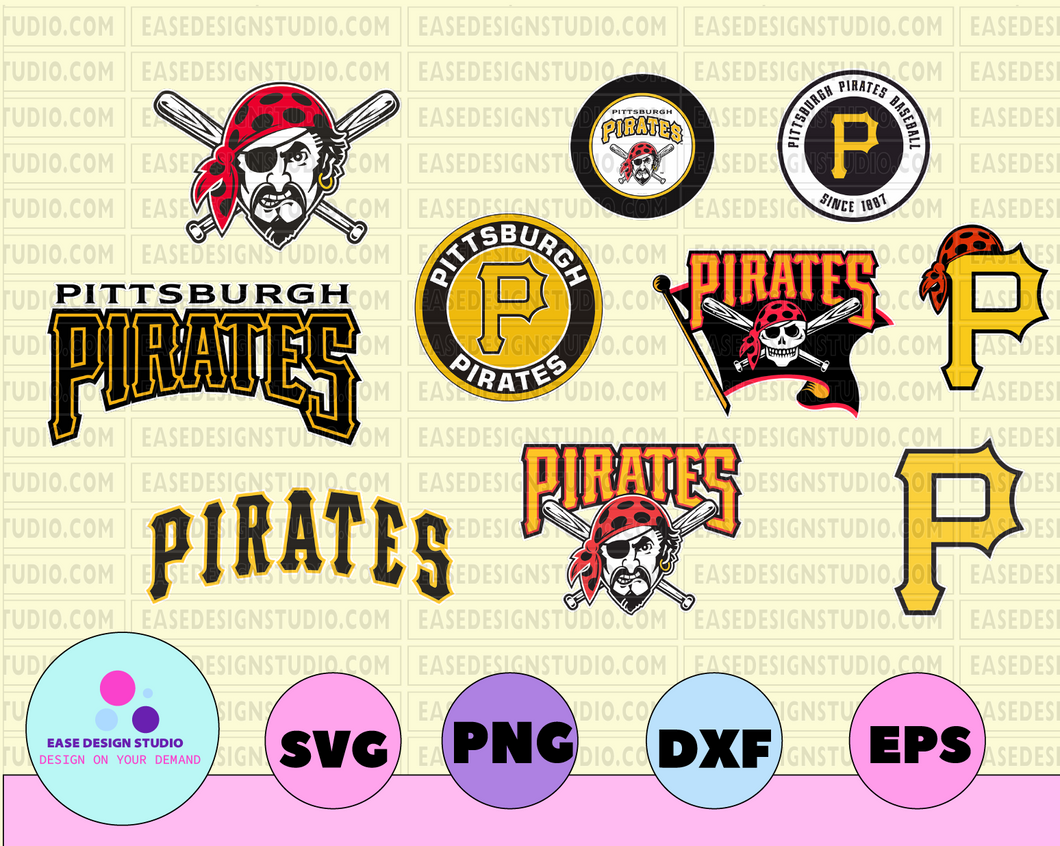 Pittsburgh Pirates Cut Files, SVG Files, Baseball Clipart, Cricut Pittsburgh Pirates Cutting Files, Baseball DXF, Clipart, Instant Download - EaseDesignStudio