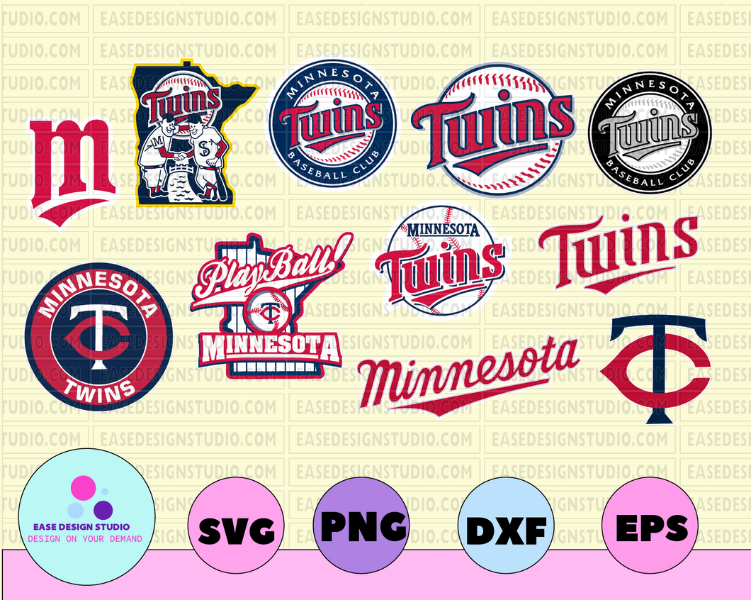 Minnesota Twins Cut Files, SVG Files, Baseball Clipart, Cricut Minnesota Twins Cutting Files, Baseball DXF, Clipart, Instant Download - EaseDesignStudio
