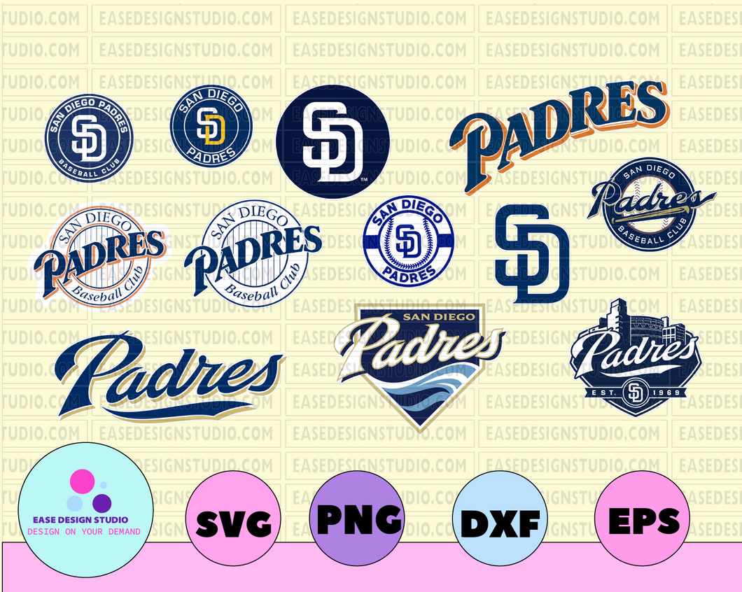 San Diego Padres Cut Files, SVG Files, Baseball Clipart, Cricut San Diego Padres Cutting Files, Baseball DXF, Clipart, Instant Download - EaseDesignStudio