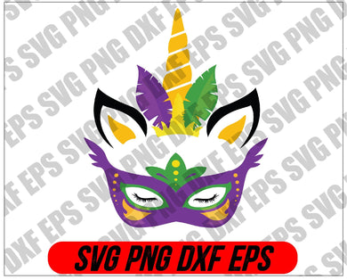 Mardi Gras SVG, Unicorn Face Free SVG File svg, png, dxf, eps digital download - EaseDesignStudio