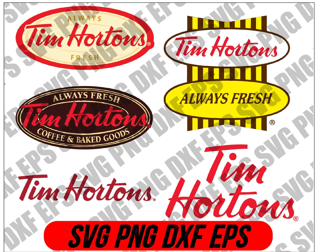 Tim Hortons Logo Bundle SVG, PNG, JPG - Ready To Use, Instant Download, Silhouette Cutting Files - EaseDesignStudio
