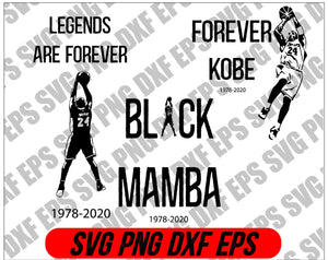 Kobe Bryant Bundle SVG, Kobe svg, bryant svg, Legends are forever svg, Black Mamba svg, forever Kobe svg, - EaseDesignStudio