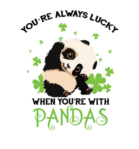 St Patrick's Day svg - you're always lucky when you're with pandas Svg Files for Cricut, Silhouette, Png, Dxf