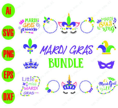 Mardi Gras SVG Bundle | SVG Cut Files, Little miss Mardi Gras, Mardi gras King svg, png, dxf, eps digital download - EaseDesignStudio