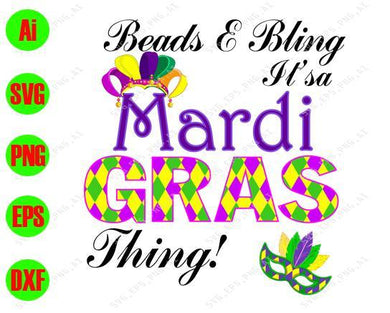 Mardi Gras SVG - Beads - Bling it's a Mardi Gras thing!  svg, png, dxf, eps digital download - EaseDesignStudio