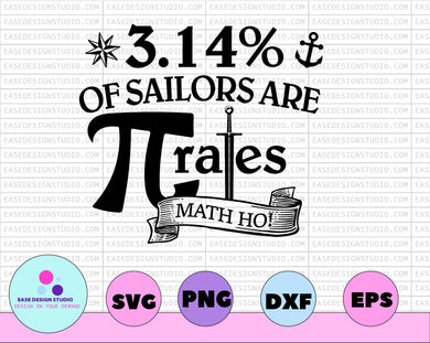 Funny Pirate Sailor 3.14 Pi Day Shirt | Math Teacher Pun Gifts | T-Shirt | SVG |DXF | PNG | Apparel Gift - EaseDesignStudio