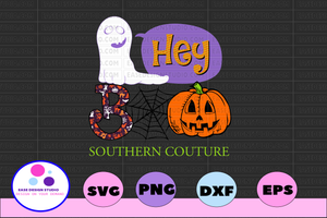 Hey Boo southern couture svg, dxf,eps,png, Digital Download