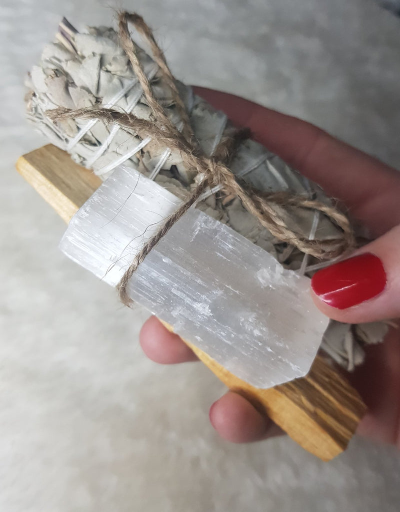 Cleansing Sage and Palo Santo Bundle with Selenite Stick