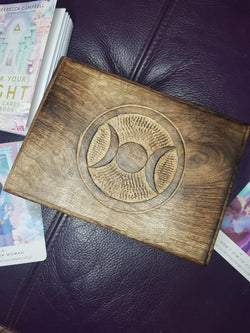 Moon Carved Wooden Tarot/Oracle Card Box