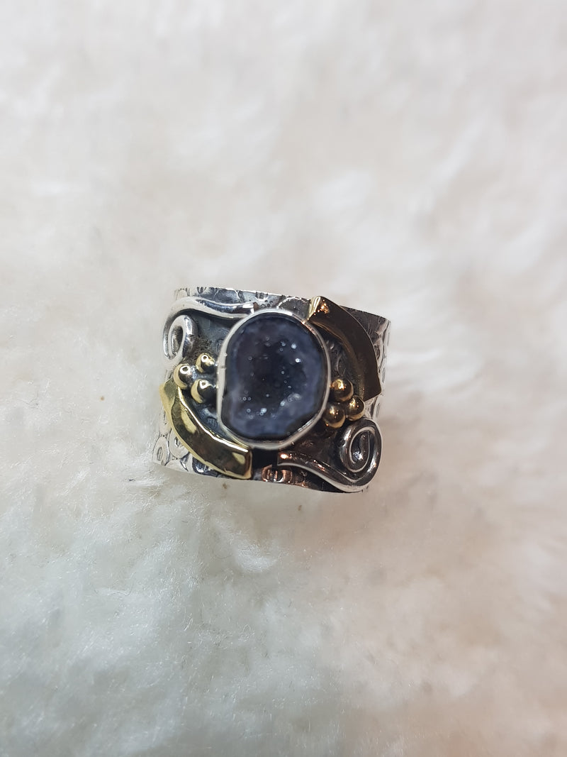 Natural Geode Druzy Silver Two Tone Ring
