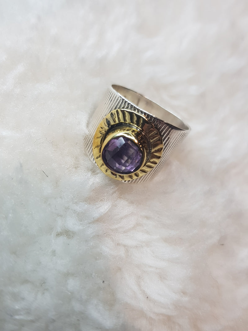 Amethyst Two Tone Silver Ring