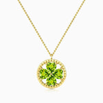 Olivine Gemstones Four Leaf Clover Pendant Necklace