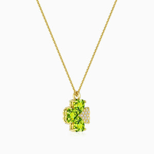 Trifairy Olivine Gemstones Four Leaf Clover Mossanite Pendant Necklace