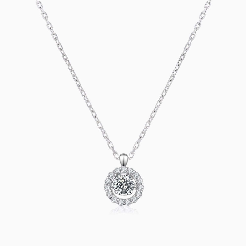 Moissanite Necklace With Halo Solitaire Pendant Micro Pave Side Accents Stones 1 Carat