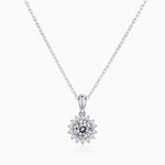 Moissanite Necklace Round Solitaire Pendant Pave With Side Stones 1 Carat