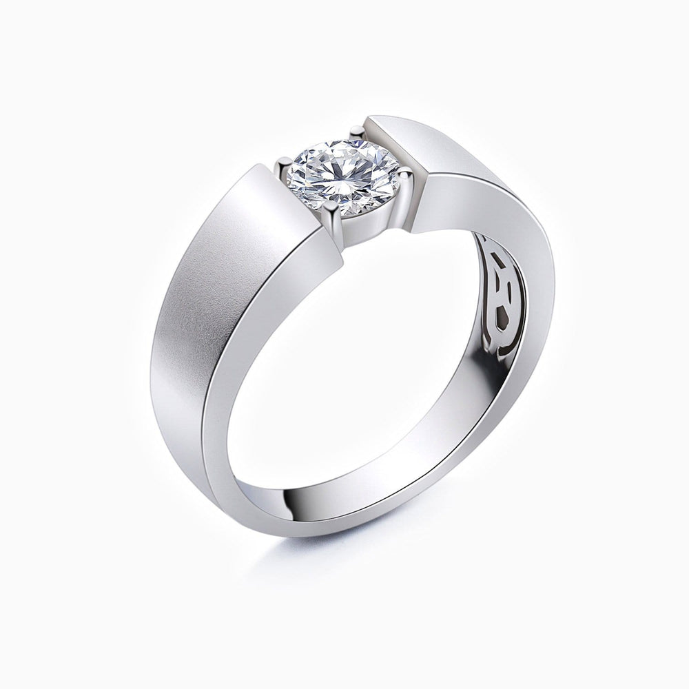Mens Wedding Bands Round Moissanite Solitaire Stackable Rings 925 Sterling Silver White Gold Plating 1 Carat