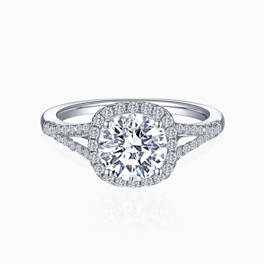 Trifairy D Grade Moissanite Engagement Rings Round Solitaire With Micro Pave Side Accents 1.5 Carat