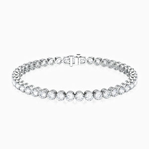 Load image into Gallery viewer, 5A Grade Cubic Zirconia Modern Tennis Bracelet Four Prong Round Bezel Set Sterling Silver 6.88 Carat