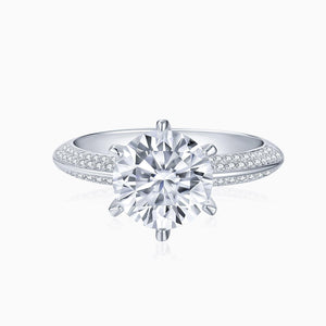Moissanite Engagement Rings Round Solitaire Micro Pave With Side Accents Stones 1 Carat