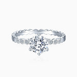 Moissanite Engagement Rings Round Solitaire With Side Accents 1 Carat