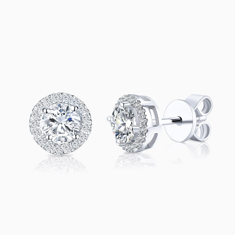 Charger l'image dans la galerie, Moissanite Stud Earrings Four Prong Round Colorless Solitaire Sterling Silver 1 Carat