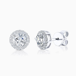 Moissanite Stud Earrings Four Prong Round Colorless Solitaire Sterling Silver 1 Carat